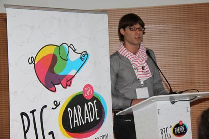 David Riou, le dynamique président de la commision communication de l'UGPVB lors du lancement public de la Pig Parade.
