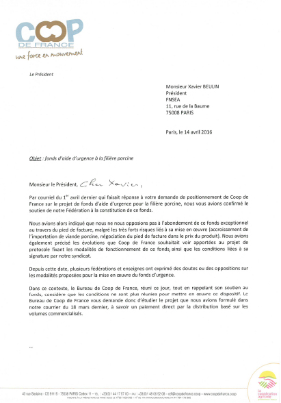 Courrier coop de France Fonds porcin